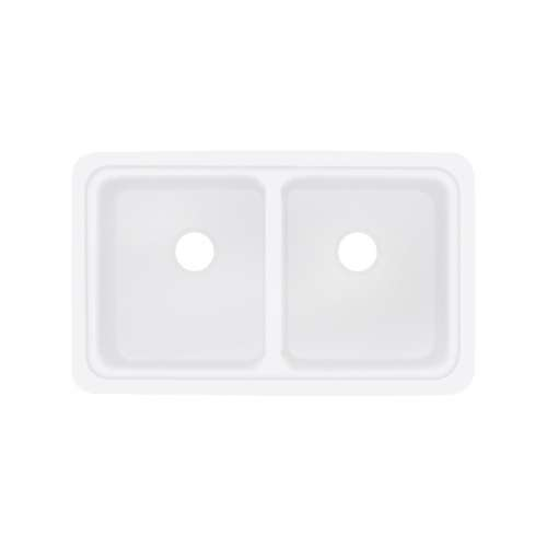 Transolid Aberdeen 30-in x 18-in Solid Surface Undermount Double Bowl Kitchen Sink, in White