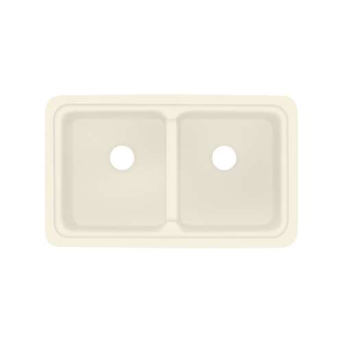 Transolid Aberdeen 30-in x 18-in Solid Surface Undermount Double Bowl Kitchen Sink, in Biscuit
