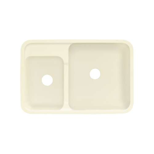 Transolid Augusta 32-in x 21-in Solid Surface Undermount Double Bowl Kitchen Sink, in Biscuit