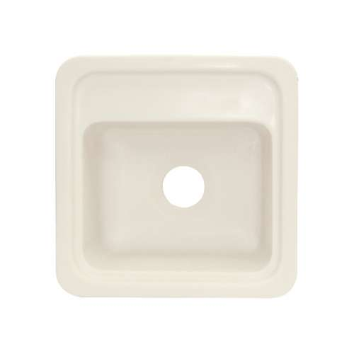 Transolid Concord 18in x 18in Solid Surface Drop-in Single Bowl Kitchen Sink, in Biscuit