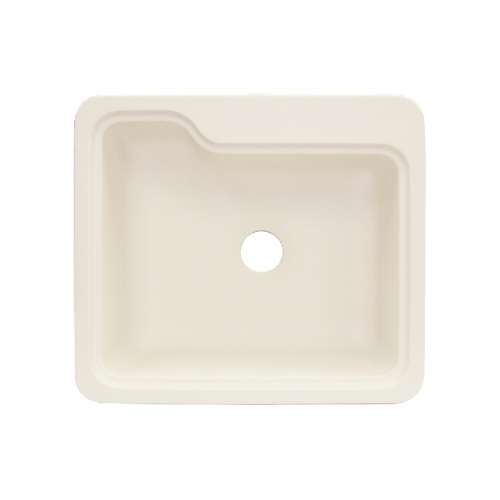 Transolid Portland 25in x 22in Solid Surface Drop-in Single Bowl Kitchen Sink, in Almond