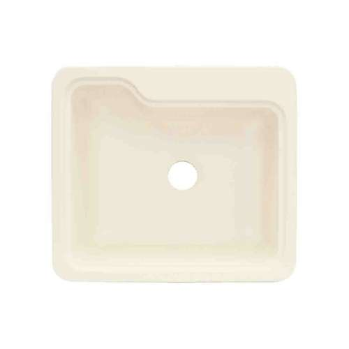 Transolid Portland 25in x 22in Solid Surface Drop-in Single Bowl Kitchen Sink, in Biscuit