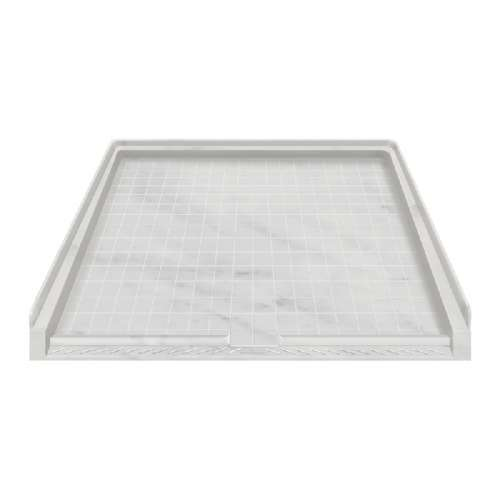 Transolid Solid Surface 39-in x 38-in Barrier Free Shower Base with End Drain