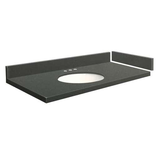 49 in. Quartz Vanity Top in Urban Grey with 8in Centerset