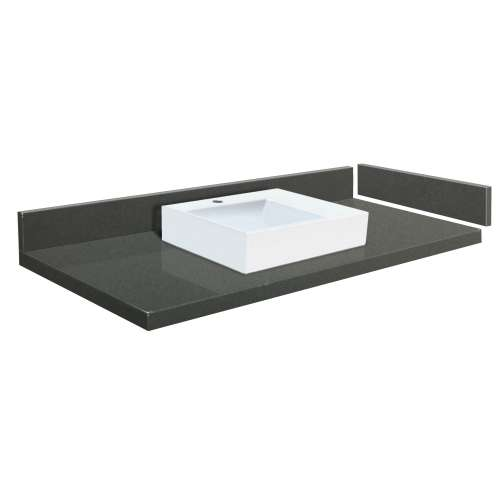 49.25 in. Quartz Vessel Vanity Top in Urban Grey with Single Hole