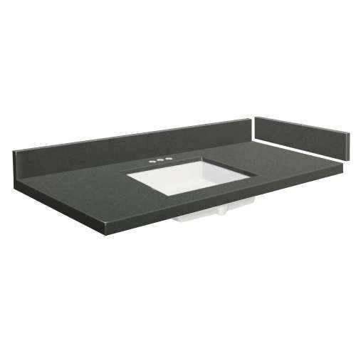 43 in. Quartz Vanity Top in Urban Grey with 4in Centerset