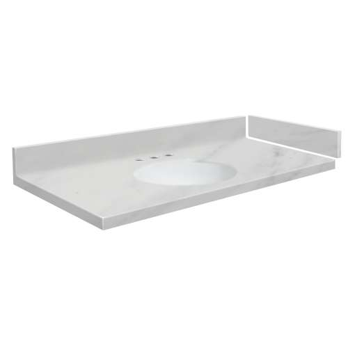 39.5 in. Solid Surface Vanity Top in White Carrara with 8in Centerset