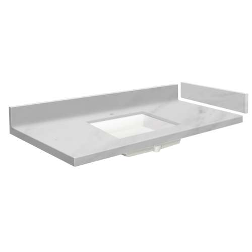 37.5 in. Solid Surface Vanity Top in White Carrara with Single Hole