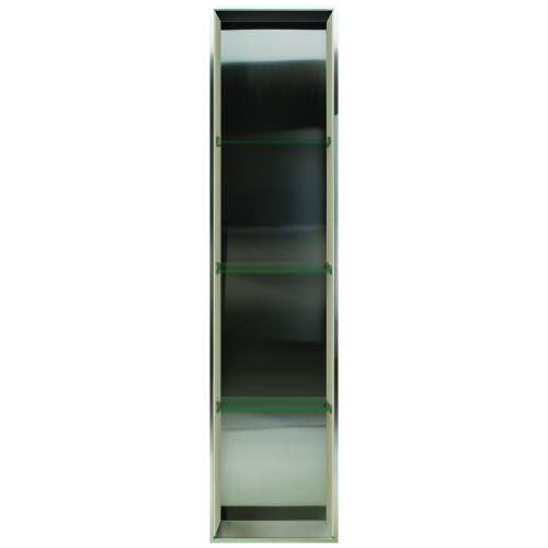Transolid Studio 58.5-in. Recessed Stainless Steel/Solid Surface Shower Storage Pod STV15814-SS86