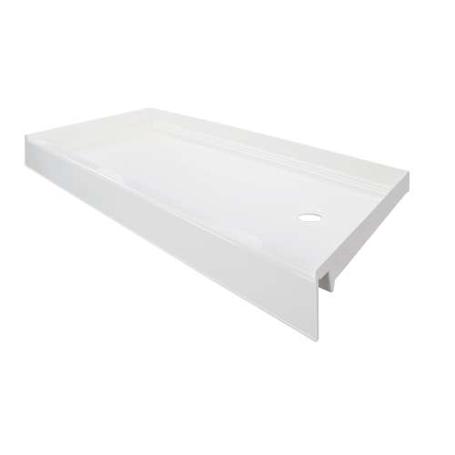 Transolid T3 60 x 30 Single Threshold Shower Base with Right Drain in White