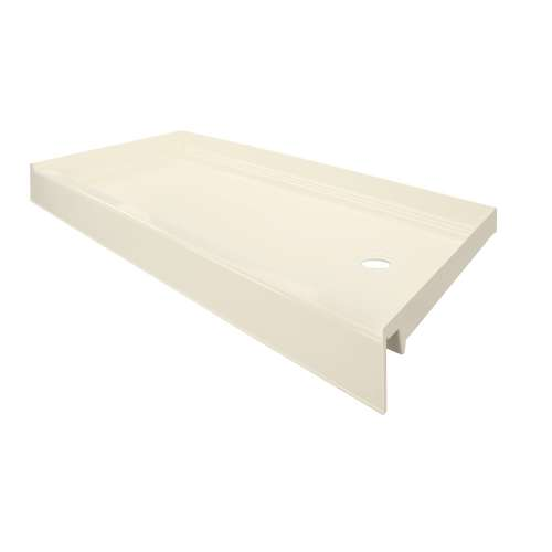 Transolid T3 60 x 30 Single Threshold Shower Base with Right Drain in Biscuit